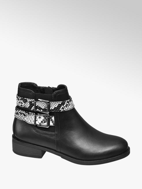Graceland czarne botki damskie Graceland z paskiem we wzór skóry węża