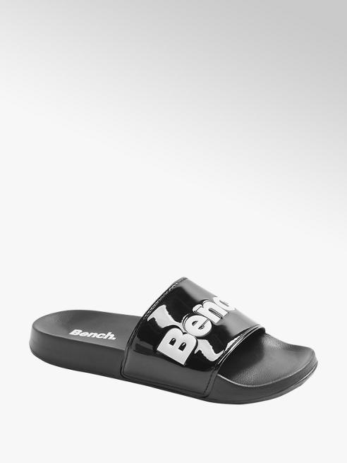 Bench czarne klapki damskie Bench z białym logo