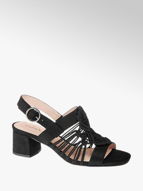 Catwalk czarne sandałki damskie Catwalk z drobnymi paseczkami