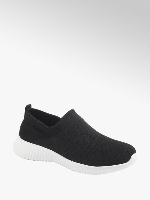 Graceland czarne sneakersy damskie Graceland na białej lekkiej podeszwie