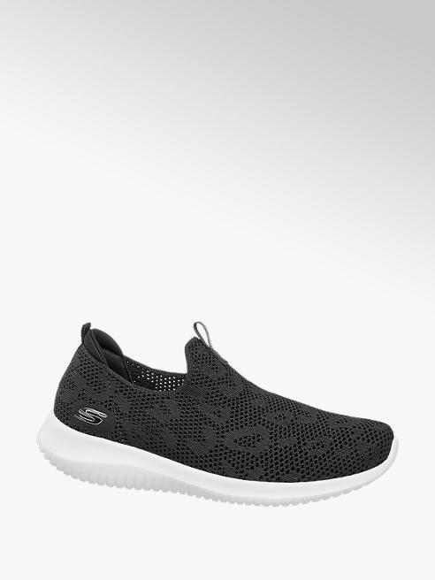Skechers czarne sneakersy damskie Skechers na białej podeszwie