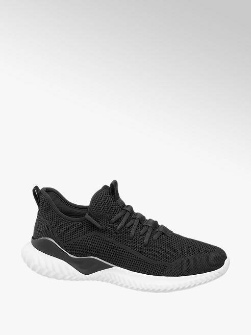 Vty czarne sneakersy męskie Vty na białej podeszwie