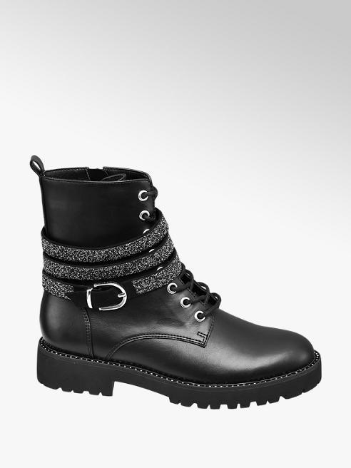 Catwalk czarne sznurowane botki damskie Catwalk z błyszczącym paskiem