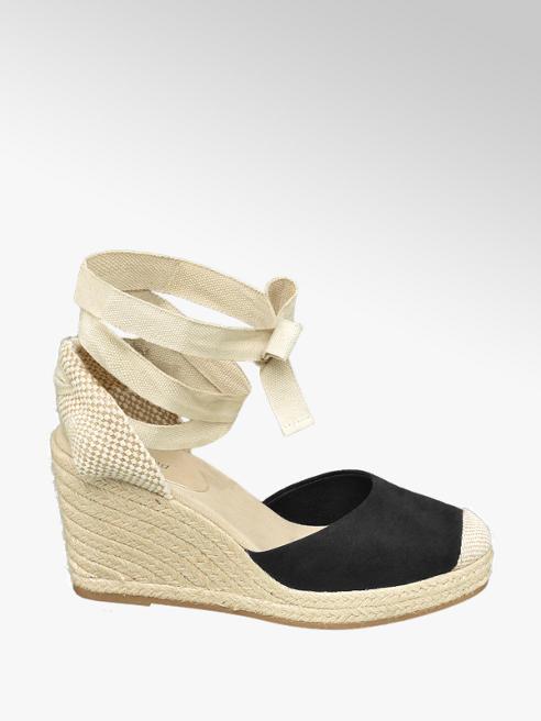 Graceland czarno-beżowe sandały damskie Graceland na koturnie