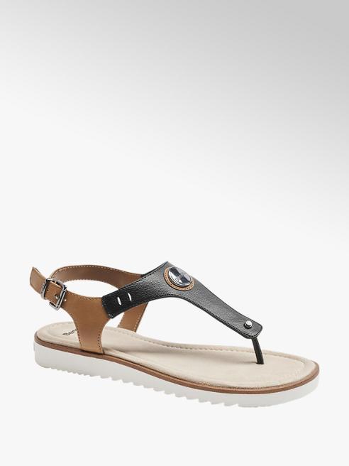 Bench czarno-brązowe sandały damskie Bench typu japonki