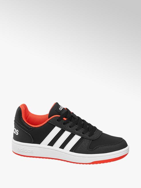 adidas czarno-czerwone sneakersy dziecięce adidas Hoops