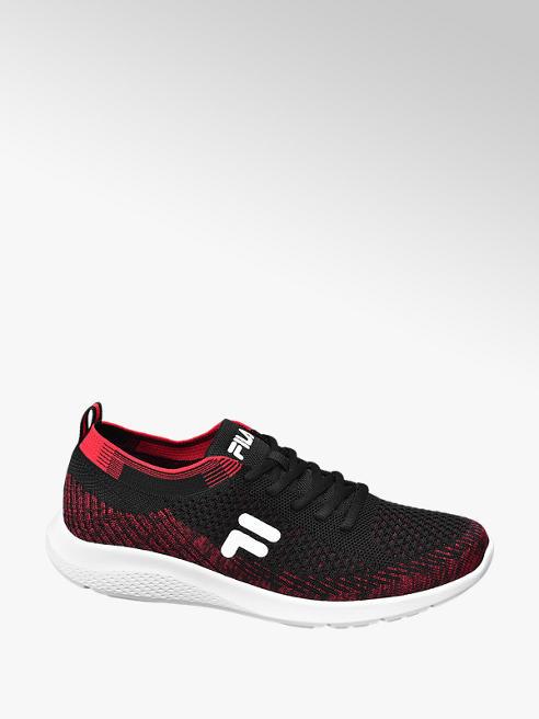 Fila czarno-czerwone sneakersy na białej podeszwie