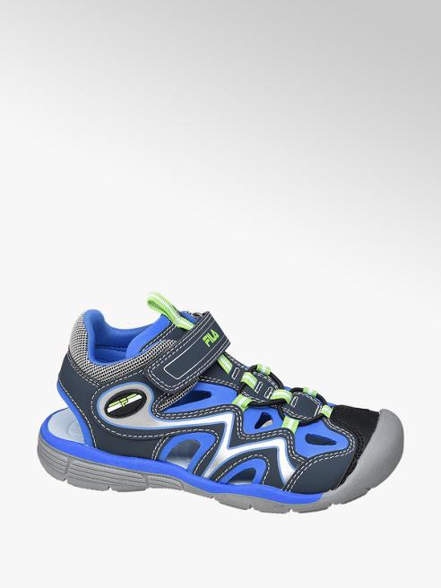 Fila czarno-niebieskie sandały chłopięce z  praktycznym zapięciem na rzep