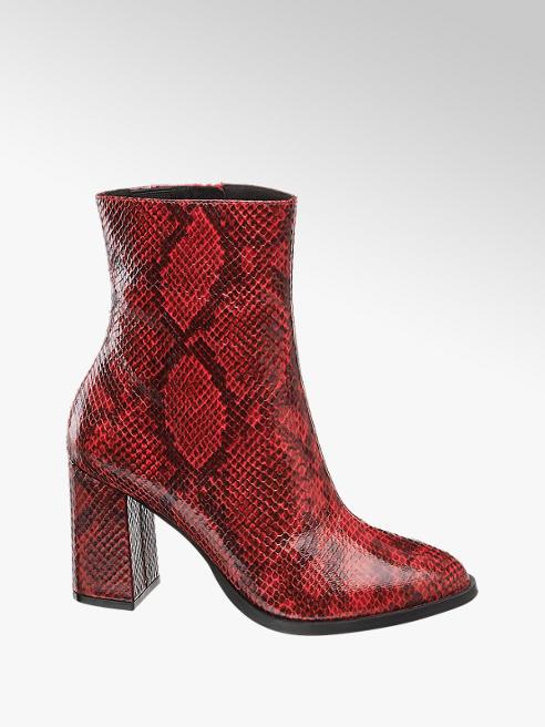 Vero Moda czerwone botki damskie Vero Moda wężowy wzór