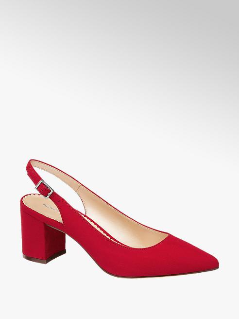 Graceland czerwone czółenka damskie Catwalk z odkrytą piętą