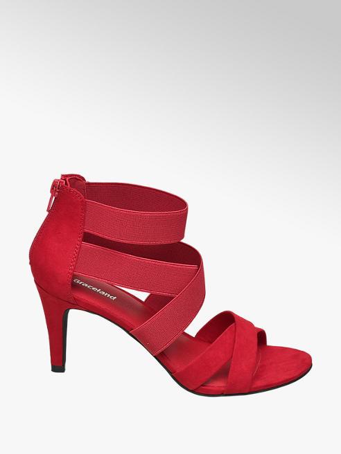 Graceland czerwone sandałki damskie Graceland z elastycznymi paskami
