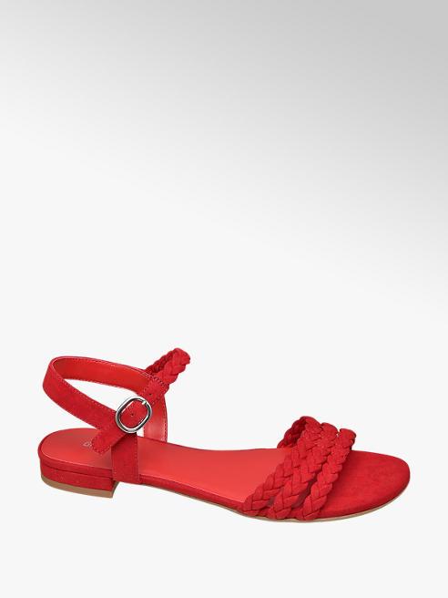 Graceland czerwone sandały damskie Graceland z paseczkami