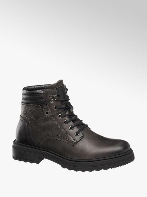 AM SHOE Šedá kožená kotníková obuv AM Shoe