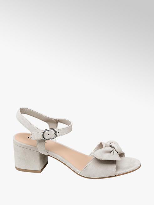 Graceland Šedé sandály na podpatku Graceland s mašlí