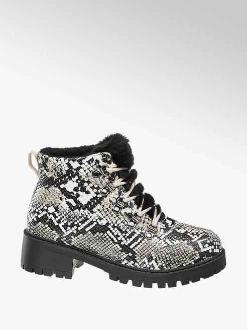 Vero Moda Šedo-bílá šněrovací obuv Vero Moda se zvířecím vzorem
