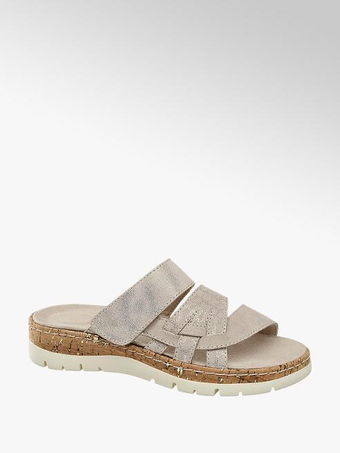 Medicus Šedobéžové kožené komfortní pantofle Medicus