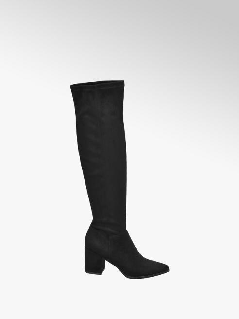 Graceland eleganckie kozaki Graceland za kolano w kolorze czarnym