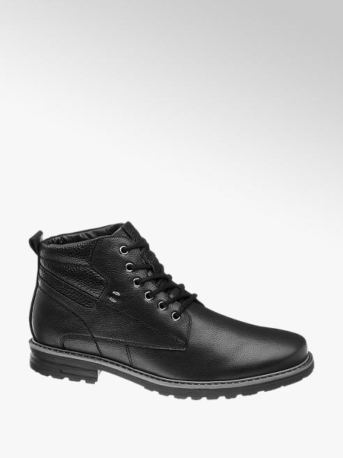 AM SHOE Černá kožená kotníková obuv AM Shoe
