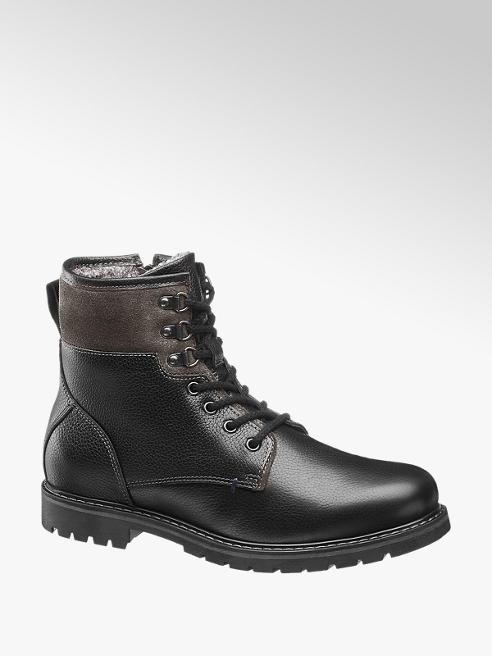 AM SHOE Černá kožená kotníková obuv AM Shoe se zipem