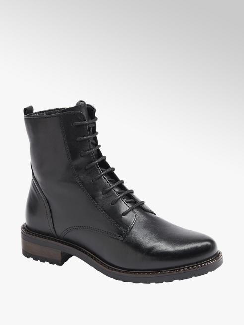 5th Avenue Černá kožená šněrovací obuv se zipem 5th Avenue