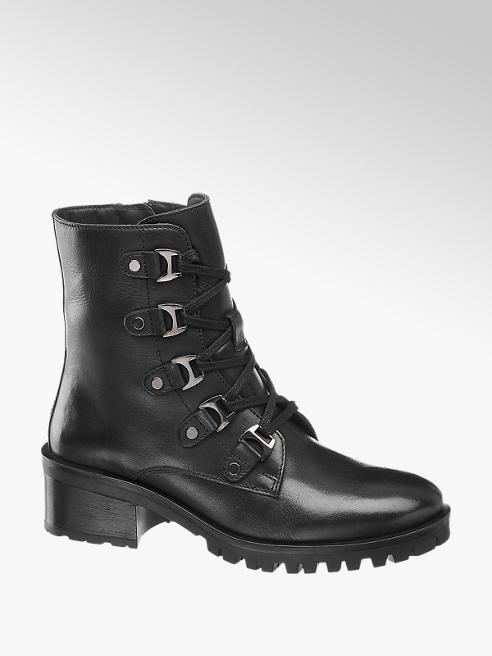5th Avenue Černá kožená šněrovací obuv 5th Avenue se zipem