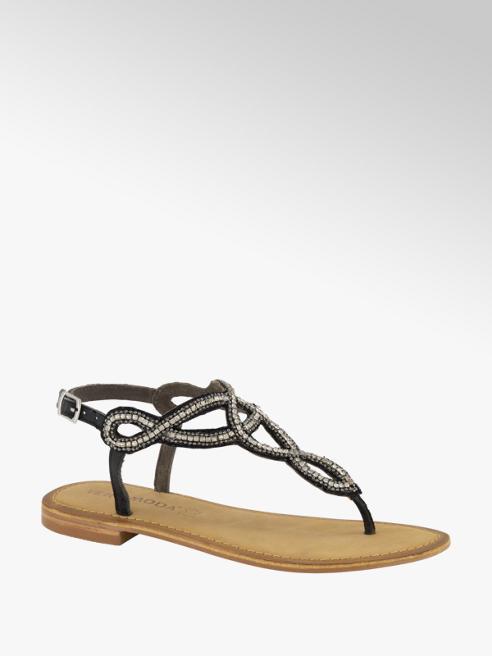 Vero Moda Černé kožené sandály Vero Moda