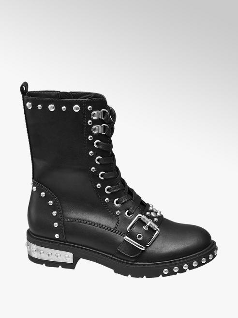 Star Collection Černá šněrovací obuv Rita Ora se zipem