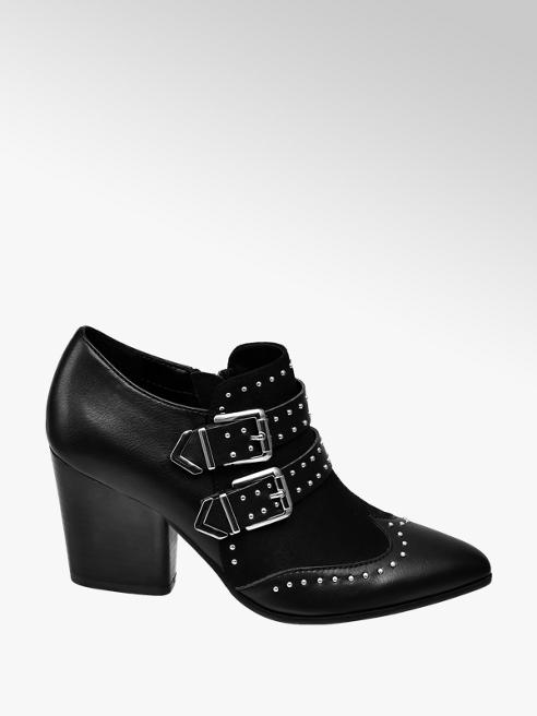 Star Collection Černé polobotky na podpatku Rita Ora se zipem