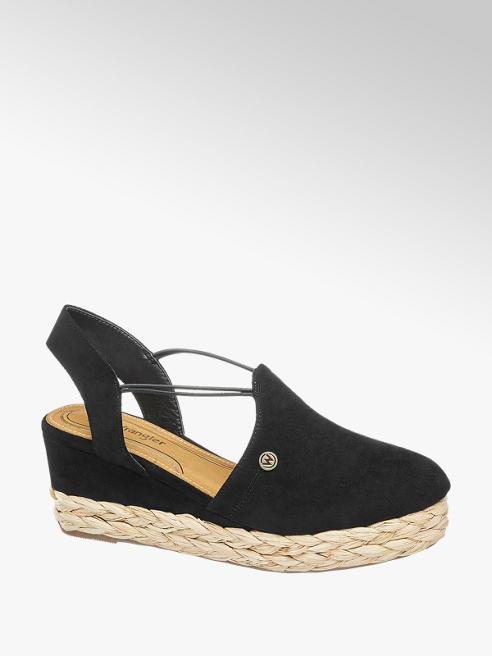 Wrangler Černé sandály na klínku Wrangler