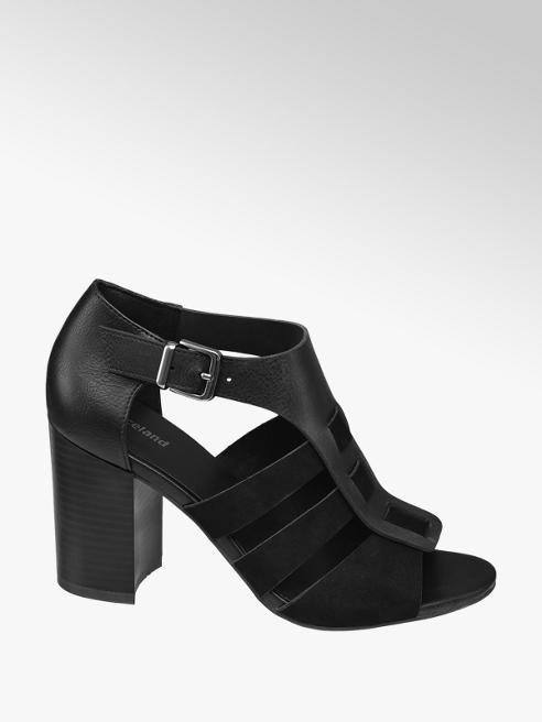 Graceland Černé sandály na podpatku Graceland