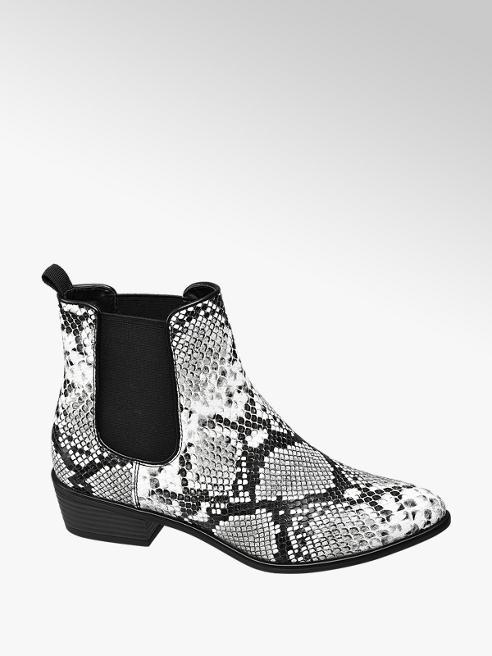 Catwalk Černo-bílá kotníková obuv Chelsea Catwalk se zvířecím vzorem