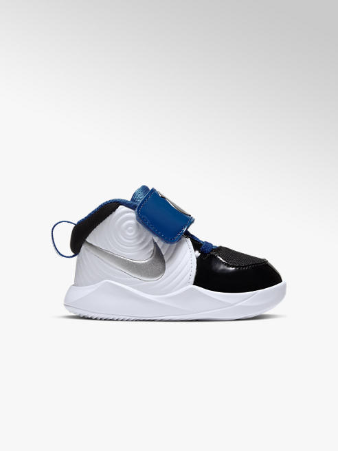 NIKE Černobílé dětské tenisky Nike Team Hustle 9 na suchý zip