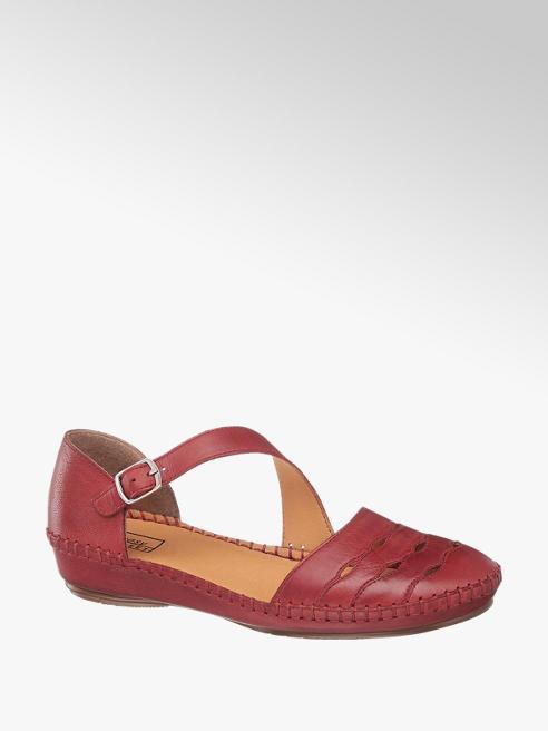 Easy Street Červené kožené komfortné sandále Easy Street