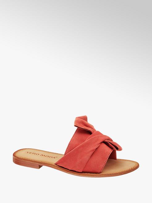 Vero Moda Červené kožené pantofle Vero Moda
