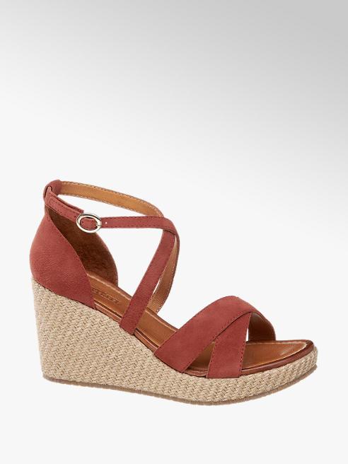 5th Avenue Červené kožené sandále na klinovom podpätku 5th Avenue