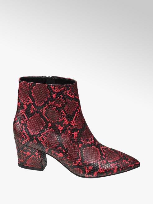 Star Collection Červené členkové čižmy so zvieracím vzorom Rita Ora