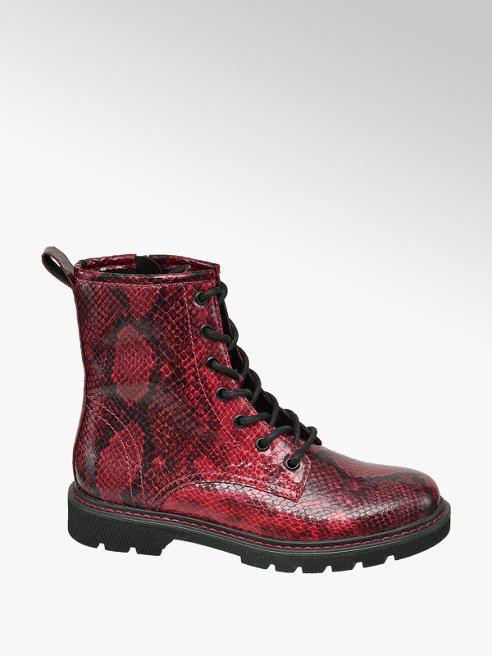 Catwalk Červená šnurovacia obuv so zipsom a zvieracím vzorom Catwalk
