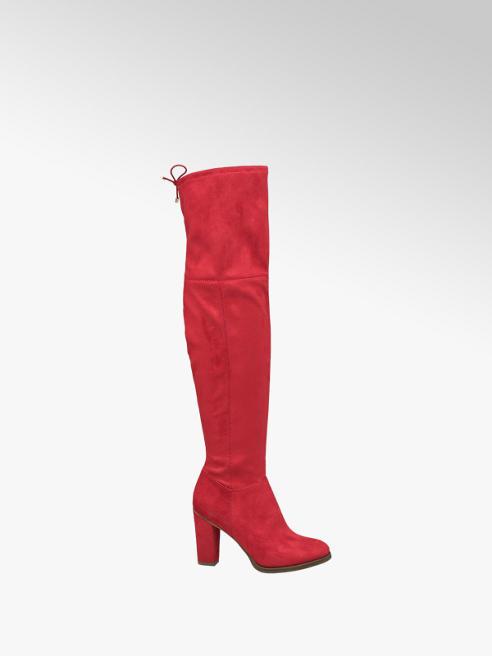 Graceland Červené ponožkové kozačky nad kolena Graceland