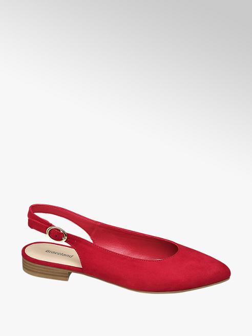 Graceland Červené slingback baleríny Graceland