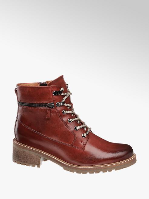 5th Avenue Červeno-hnědá kožená šněrovací obuv se zipem 5th Avenue