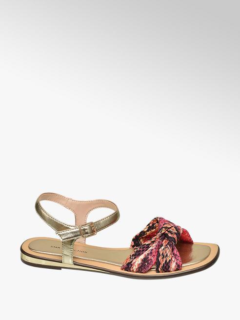 Star Collection Červeno-zlaté sandály Rita Ora se zvířecím vzorem
