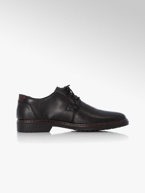 Rieker Čierna kožená komfortná spoločenská obuv Rieker