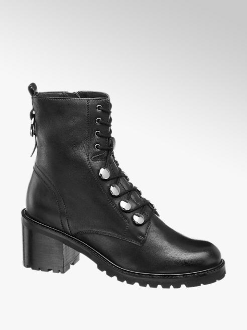 5th Avenue Čierna kožená šnurovacia obuv 5th Avenue so zipsom
