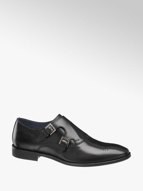 AM SHOE Čierna kožená spoločenská obuv AM SHOE