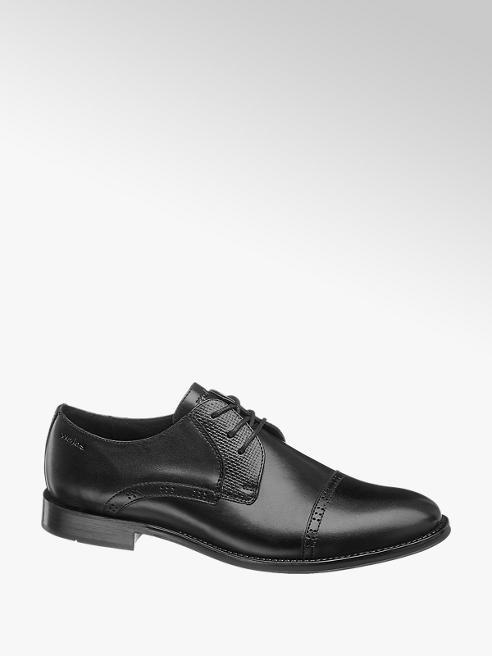 Wojas Čierna kožená spoločenská obuv Wojas