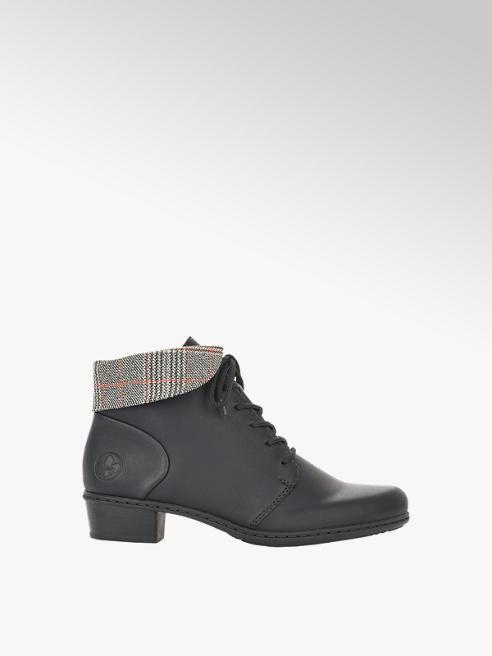 Rieker Čierna komfortná šnurovacia obuv so zipsom Rieker