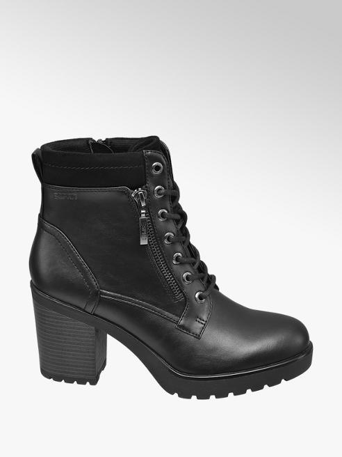 Esprit Čierna šnurovacia obuv so zipsom Esprit