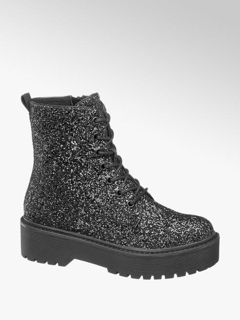 Catwalk Čierna trblietavá šnurovacia obuv so zipsom Catwalk