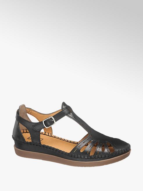 Easy Street Čierne kožené komfortné sandále Easy Street