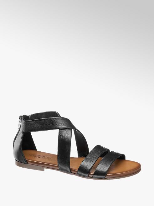 5th Avenue Čierne kožené sandále 5th Avenue
